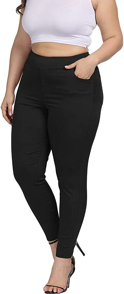 ALLEGRACE Women Plus Size Skinny Pants Stretch Slim Fit Pull-on High Waist Pants with Pockets