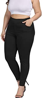 Allegrace Plus Size Women Skinny Pants Stretch Long,Tummy Control Slim Skinny Leggings with Pockets