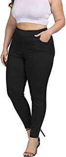 Women Plus Size Skinny Pants Stretch Slim Fit Pull-on High Waist Pants with Pockets
