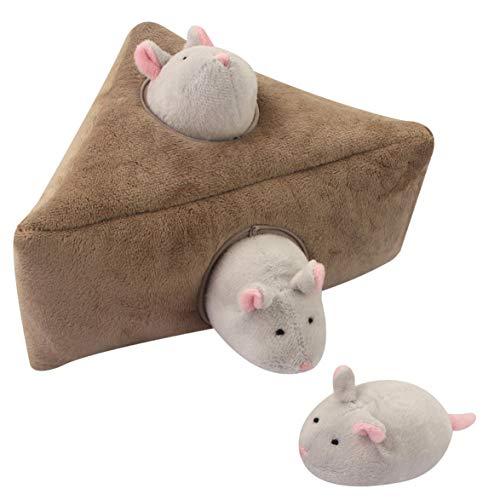 AmiAbi Squeak Dog Toys Grande Durável Hide and Seek Puzzle Brinquedos de pelúcia interativos para cães Grandes Médias Pequenas Animais de estimação mouse Material: Este brinquedo esconde-esconde fei