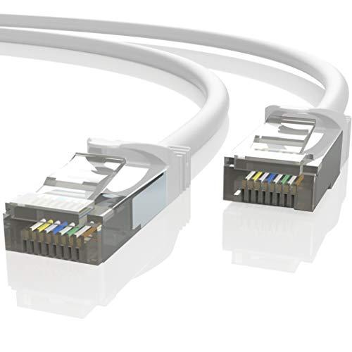 Mr. Tronic 10m Ethernet Netzwerk Netzwerkkabel | Patchkabel | CAT7, SFTP, CCA, RJ45 (10 Meter, Weiß)