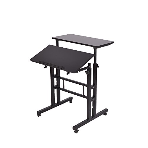Mind Reader Multipurpose Home Office Computer Desk, Sit and Stand Desk, Workstation Desk, Black