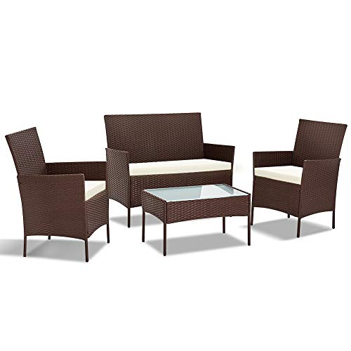 Gardeon 4pc Chair and Table Set Wicker Outdoor Furniture-Brown