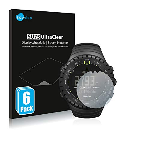 savvies Protector Pantalla Compatible con Suunto Core All Black (6 Unidades) Pelicula Ultra Transparente