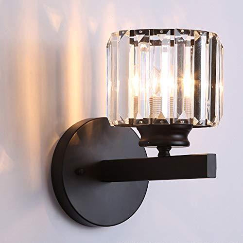 Mengjay Apliques de luz de pared de pantalla de cristal de diseño de lujo moderno para dormitorio, sala de estar, comedor, Aplique de pared, Lámpara de pared de estilo moderno (Negro)