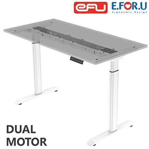 E.For.U® Q6 Elektrisch höhenverstellbarer Schreibtisch (Dualer Motor, Weiß) höhenverstellbares Tischgestell 2 Motoren,2-Fach-Teleskop, mit Memory-Steuerung (Weiß)