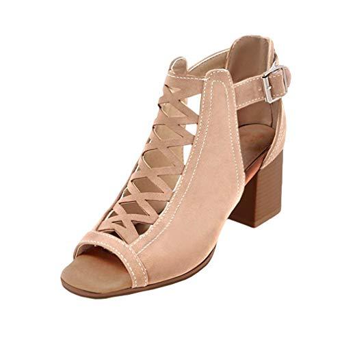 Sandalias de Tacón Medio Mujer - Sandalias de Color Sólido