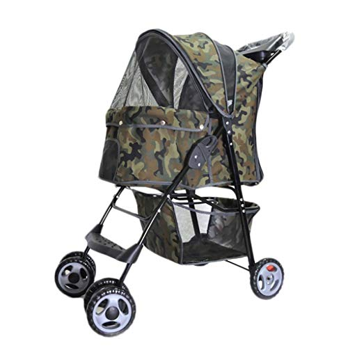 LTLJX Dog Strollers, Four Wheels Old Disabled Vet Travel Stroller Pram Puppy Pushchair Jogger Buggy Foldable for 15kg Small Medium Dogs,C