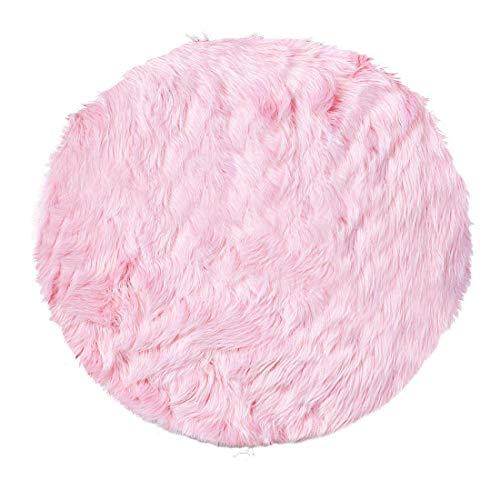 Depskin Area Rug Indoor Soft Fluff Alfombra para dormitorio, suelo, sofá, armario, salón, 3 x 3 patas redondas, color rosa claro