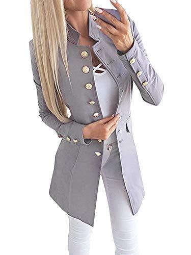 Tomwell Damen Blazer Elegante Langarm Slim Fit Einreihiger Anzugjacke mit Stehkragen Business Büro Jersey Jäckchen Anzug Mode Langblazer Mantel Grau DE 38