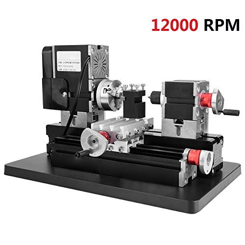 Find Cheap 60W Mini Metal Lathe, 100-240V High Power 12000RPM Metal Lathe HSS Turning Bit 0.02 High ...
