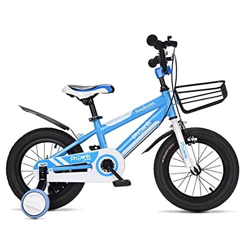 Bicicletas, Bicicleta De Montaña Con Ruedas De Entrenamiento, Ajuste De Altura Del Asiento, Marco De Altura De Acero Altamente De Carbono Bicicletas Para Niños Durante 2-12 Añ(Size:18inch,Color:Azul)