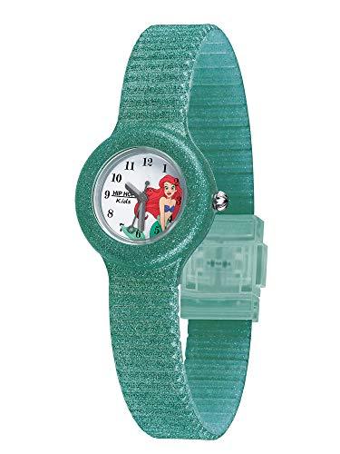 Hip Hop Orologio Solo Tempo per Bambina Dedicato alla Sirenetta Disney con Cinturino in Silicone Glitterato Verde Resistente all'Acqua HWU1002