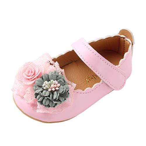 Auxma Chaussures Fleur bébé Fille,Chaussures de Marche bébé Chaussures de Mariage de Robe pour 0-2 Ans (19 EU, Rose)