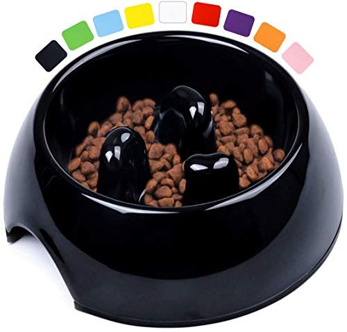 DDOXX Fressnapf Antischlingnapf, rutschfest | viele Farben & Größen | für kleine & große Hunde | Futter-Napf Katze | Hunde-Napf Hund | Katzen-Napf | Melamin-Napf | Schwarz, 140 ml