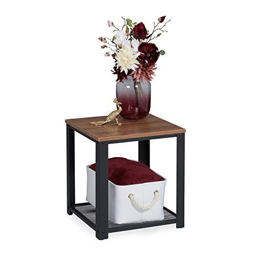 Relaxdays Beistelltisch, quadratische Tischplatte in Holzoptik, Gitterablage, Stahl, HBT: 44 x 40 x 40 cm, braun/schwarz, 1 Stück