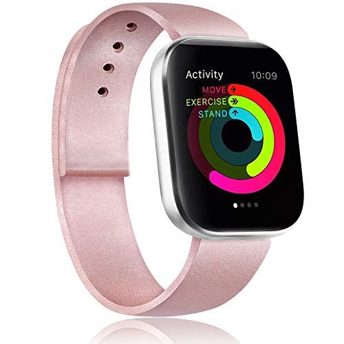 Gomei Cinturino Compatibile per Apple Watch 44mm 38mm 42mm 40mm, Silicone Cinturino Impermeabile in Traspiranti Morbidi per iwatch Serie 5, 4, 3, 2, 1 (38/40mm S/M, Oro Rosa)