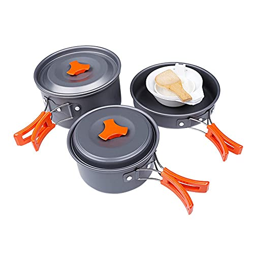 ysgbaba Outdoor Portable Camping Kochgeschirr Outdoor Herd 2 3 Personen Aluminium Kochgeschirr Set Picknick Kochgeschirr Camping Kochgeschirr Set (Color : Black)