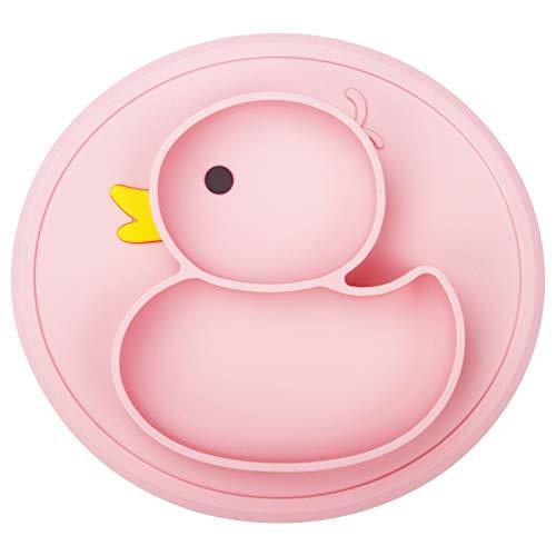 Qshare Silikon Baby Teller Schüssel mit Absaugung, Rutschfestes Tischset für Kinder, passend für Hochstuhl, BPA-freier, Spülmaschinen-und mikrowellengeeignet, für Kleinkinder Reisefütterung