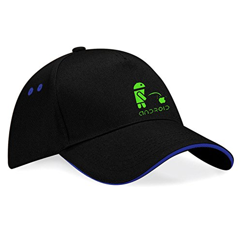 Apple vs Android Embroidered Baseball Caps 100% Cotton - k038 (SW-Blau)