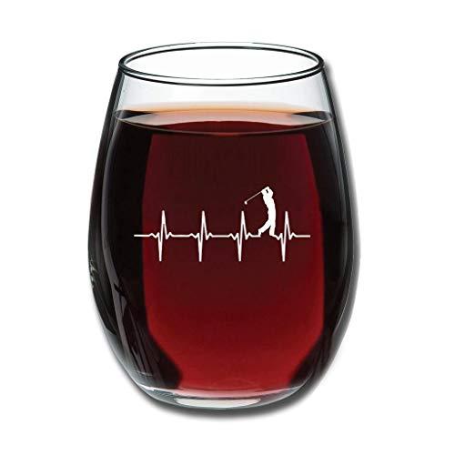 Tentenentent Good Touch Golf Heart Beat Weinglaswaren Premium Geätzt Milchglas - Golfer personalisiert Neujahrsdekoration white2 350ml