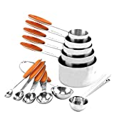 Stainless Steel Measuring Cups, Measuring cups and Spoons Set of 11 Pack 18/8 Stainless Steel Stackable Cups with Spoons(Orange)