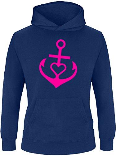 EZYshirt® Anker mit Herz Kinder Hoodie Kapuzenpullover