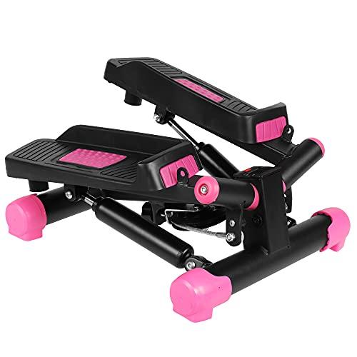 SportVida Mini Twister Stepper für Zuhause Aerobic - LCD-Trainingscomputer - Verstellbarer Widerstand - Swingstepper Fitness-Trainingsgerät Indoor Workout - Vertical Climber (Schwarz-Rosa)