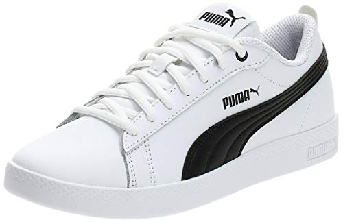 PUMA Smash v2 Leather, Baskets Femme, White Black, 41 EU