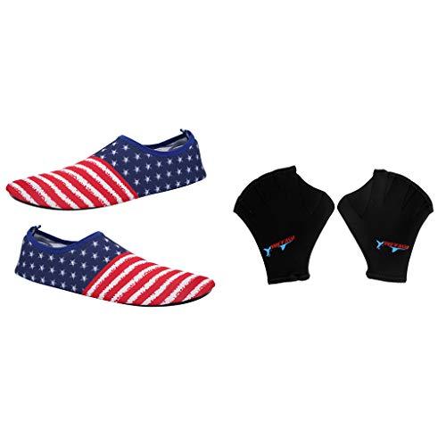 F Fityle Zapatillas de Playa para Mujer Delgadas y Impermeable de Rayas + 1 Par Aletas de Natación de Manos Guantes para Surf Buceo