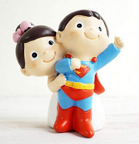 Superman Pareja artesanías de Resina Nuevo Coche de Boda Decoraciones para Pasteles...