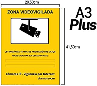 Cartel super A3 rígido zona vigilada videovigilada de adhesivo camaras informativo LOPD camara placa. Disuasorio