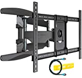 Invision Soporte de TV Pared para 37-70 Pulgadas Pantallas - Super Fuerte, Inclinable y Giratorio Doble Brazo - Máx VESA 600x400mm - Peso Máx 50 kg - Cable HDMI Y Nivel de Burbuja Incluidos (HDTV-DXL)