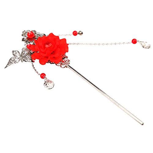 Bonarty Klassische Chinesische Traditionelle Haarstäbchen Vintage Tassel Hair Stick - Rot