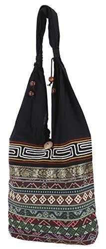 Guru-Shop Sadhu Bag, Ethno Schulterbeutel, Hippie Tasche aus Thailand - Olivgrün, Herren/Damen, Baumwolle, Size:One Size, 30x30x10 cm, Bunter Stoffbeutel