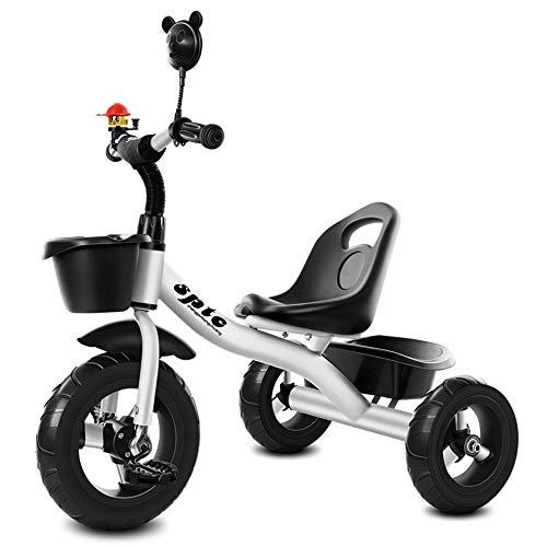 Triciclo para niños, bicicleta de empuje para bebés de 1-3-2-6 años, cochecito de juguete para jardín de infantes, asientos delanteros y traseros ajustables, con canasta de almacenamiento