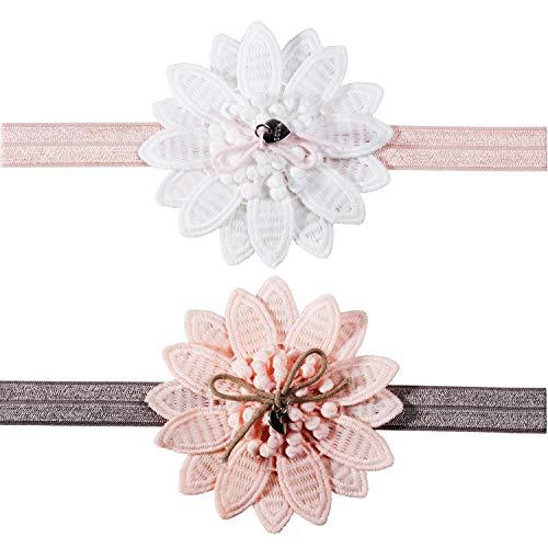 Fascia per capelli da ragazza in pizzo, con fiore, morbida ed elasticizzata, 2 pezzi, per ragazze (rosa, bianco)