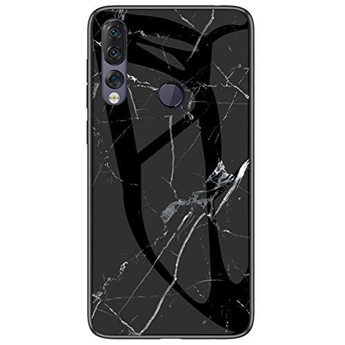 BINGRAN Lenovo Z5s Hülle, Marmor Motiv Gehärtetes Glas Rückendeckel + Weiche TPU Silikon Stoßstange Stoßdämpfung Schutzhülle Handy Hülle für Lenovo Z5s Schwarz
