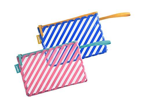 LARGERED Kulturtasche Transparent, 2 Stück Flugzeugtaschen für Damen, Herren und Kinder, Gestreifte Bedruckte PVC-Kosmetiktasche mit Handstreifen für Sommerreisen, Strand und Schwimmbad Pink-Blau