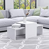 Unfade Memory Modern Coffee Table, Set of 2 Living Room Center Tables Chipboard Cocktail Table 39.4'x18.9'x15.7' (White)