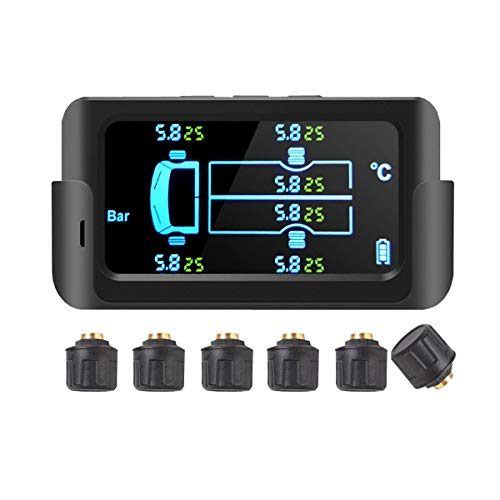 Senmubery Auto Solar Smart TPMS Sistema di Monitoraggio della Pressione dei Pneumatici Display LCD Digitale Allarme di Sicurezza Sensori Un 6 Ruote 122PSI 8.5Bar