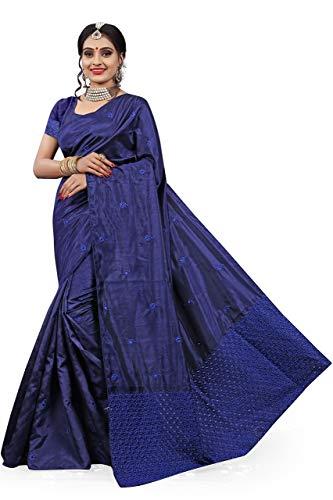 Gaurangi Creation Women's Art Silk Saree With Unstitched Blouse Piece (KF5104 DB_Blue)