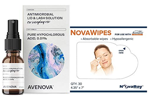 Avenova Eyelid and Lash Cleanser with NovaWipes, Effective Relief from Irritation, Dry Eyes, Styes and Blepharitis