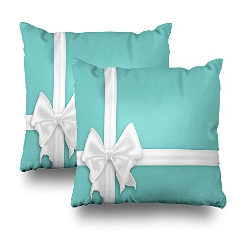 LALILO Set of 2 Throw Pillow Covers, White Bow Silk Ribbons Elegant Satin Bow Turquoise Blue Gift Double-Sided Pattern Sofa Cushion Cover Couch Decoration Home Gift Bed Pillowcase 18 x 18 Inch