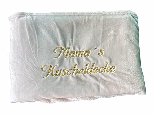 Kuscheldecke XXL - 180 x 220 cm - Persönlich anpassbar Bestickt mit Namen & Text - Hochwertige Decke - Tagesdecke - Farbe Creme - Stickfarbe wählbar