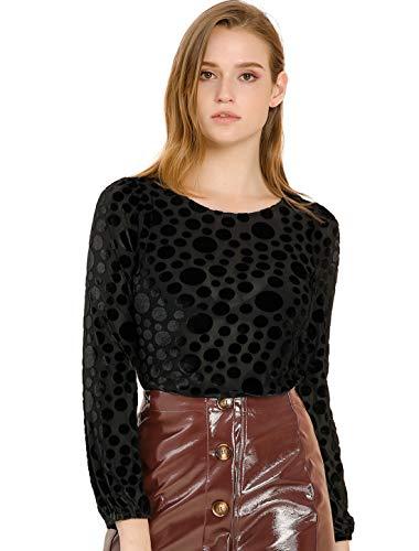 Allegra K Women's Dots Prints Velvet Burn-Out Long Puff Sleeve Blouse Top X-Large Black