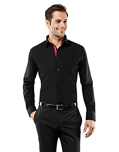 Vincenzo Boretti Camisa de Hombre, Ajustada Entallada (Slim-fit), 100% algodón, Manga-Larga, Cuello Kent, con entredós de Contraste, Lisa - no Necesita Plancha Negro 37/38