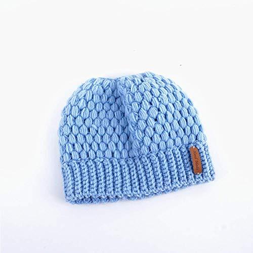 Cola de caballo Mujeres Beanie sombrero caliente del invierno Gorro de lana sucia del bollo casquillo del estiramiento ganchillo hecho a mano de las orejeras del sombrero de copa vacía para damas