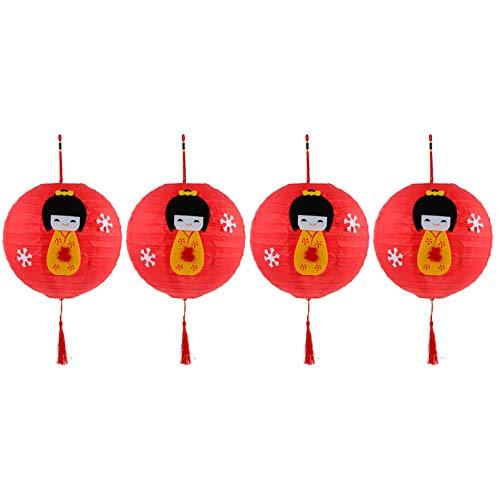DOITOOL 4 linternas de papel rojas tradicionales chinas japonesas de papel 2021Ox decoración colgante de Año Nuevo Decoración de Primavera Festival Luces decorativas