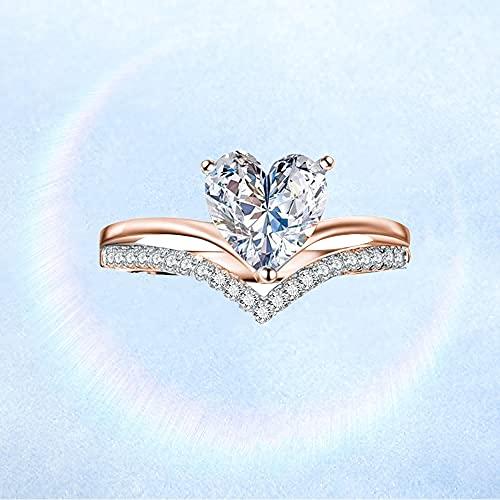 Clmcsf Anillo de Compromiso de Princesa Personalizado con Diamante de circonita en Forma de corazón para Mujer, Anillo de Diamante en Forma de corazón para Mujer, Anillos(Oro Rosa 7)